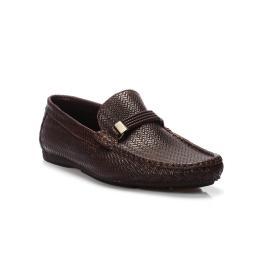 لوفر - حذاء جلد طبيعي 100%  كعب قصير منقوش