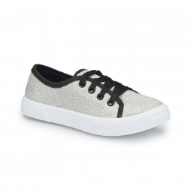 حذاء للبنات بالون الفضي والخيوط السوداء