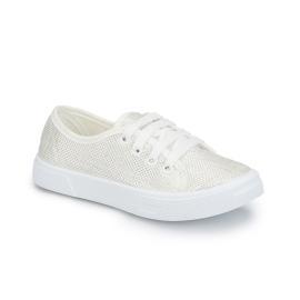 حذاء لامع للبنات بالون الابيض مع الخيوط البيضاء