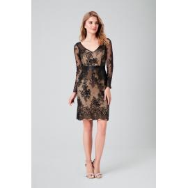 فستان السهرة دانتيل أسود قصير