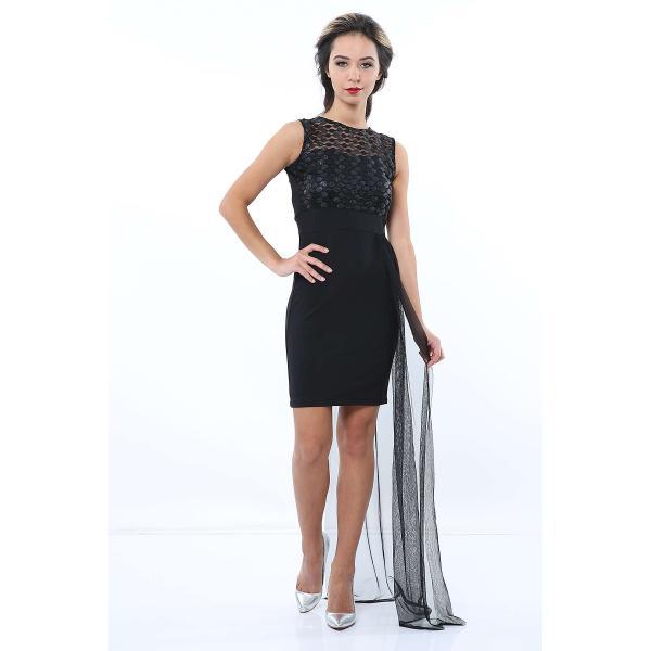 فستان تول تفصيل سحب