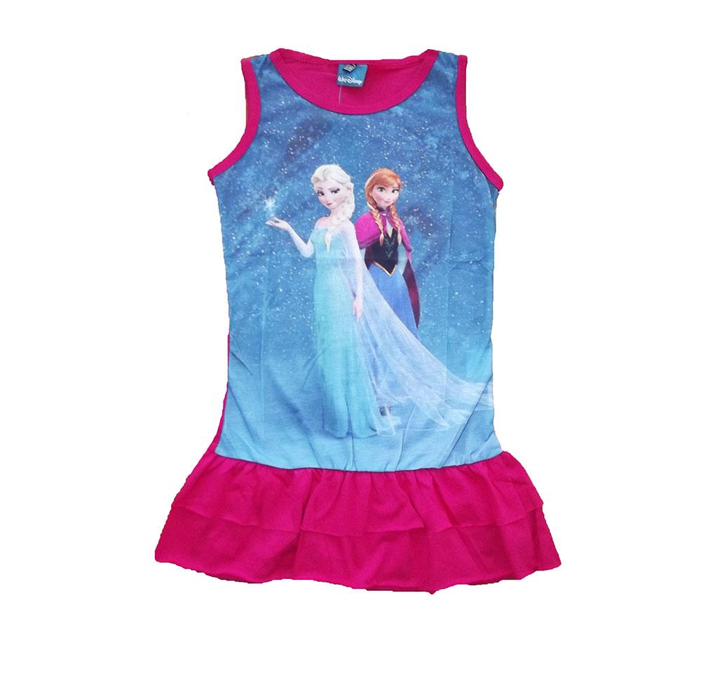 فستان فروزن القطني للبنات باللونين الازرق و الزهري