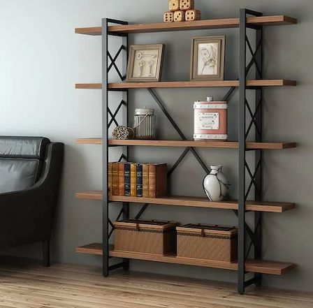 مكتبة مصنوعة من الخشب والمعدن للكتب والصور