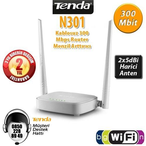 راوتر انترنت منزلي Tenda N301 4Port WiFi-N 300Mbps 2 Anten Router / AP